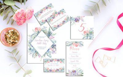Invitaciones de boda para descargar: Wild Blue